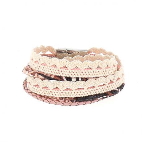 Bracelet Multirang Aimanté Rose - Bracelet Wrap