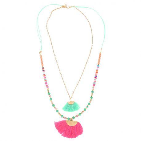 Sautoir Multirang Perles et Franges Colorées - Collier Long