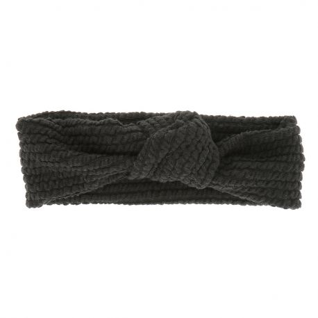 Bandeau Noué Côtelé Noir - Headband Noeud - Bandeau Cheveux