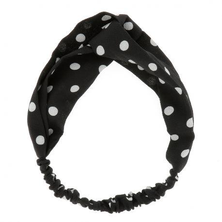 Bandeau Noir à Pois Blanc - Bandeau Turban - Headband