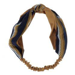 Bandeau Turban Imprimé Camel et Bleu marine - Bandeau Noeud - Bandeau Cheveux