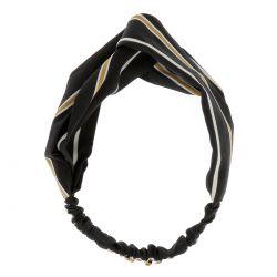 Bandeau Torsadé Noir Rayé Jaune Moutarde - Bandeau Cheveux