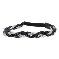 Headband tressé perles blanches et noires
