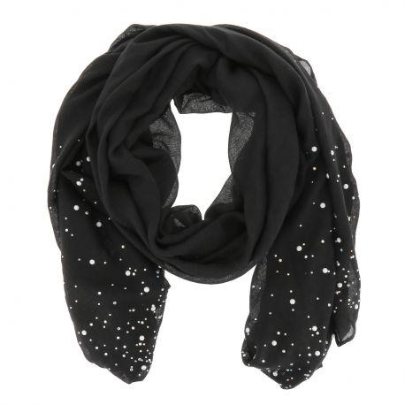 Foulard Noir Perles et Strass - Foulard Femme