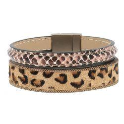 Bracelet Manchette Léopard Camel - Bracelet femme