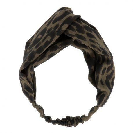 Bandeau Turban Satiné Léopard Kaki - Headband Léopard