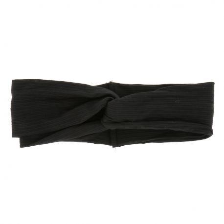 Bandeau Large Noeud Côtelé Noir - Bandeau Cheveux