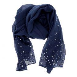 Foulard Bleu marine Perles et Strass - Etole Pour Mariage