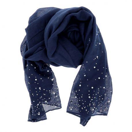 grande variété de modèles meilleure valeur nouveau design Foulard Bleu marine Perles et Strass