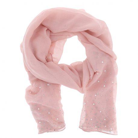 Foulard Rose vieilli Perles et Strass - Foulard Rose Mariage
