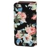 Etui portefeuille Iphone 5 / 5S Noir imprimé Fleurs
