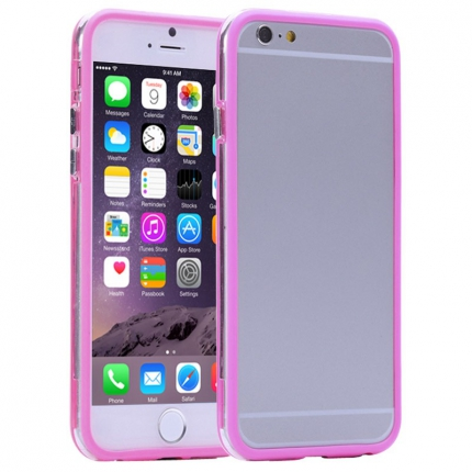 Bumper Iphone 6 plus Transparent et Rose vif