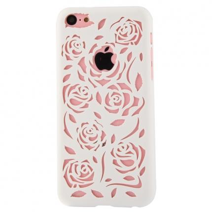 Coque Iphone 5C Blanche sculptures fleurs