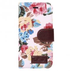 Etui portefeuille Iphone 6 Blanc imprimé Fleurs
