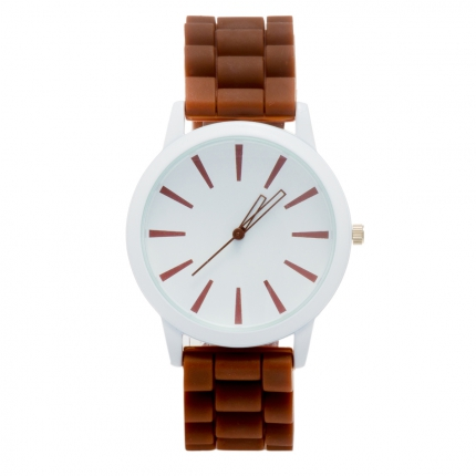 Montre silicone marron