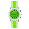Montre silicone bicolore vert fluo et blanche