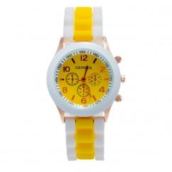Montre silicone bicolore jaune et blanche