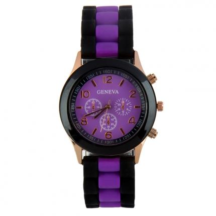Montre silicone bicolore violette et noire