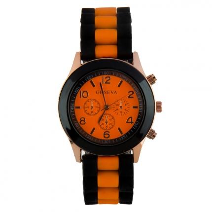 Montre silicone bicolore orange et noire