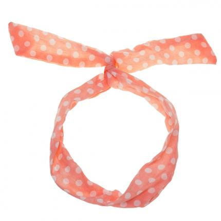 Bandeau cheveux rose clair à pois blanc - Bandeau Vintage